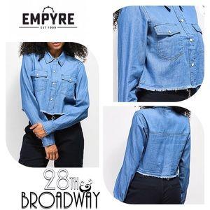 Empyre Chambray Button up Crop Shirt